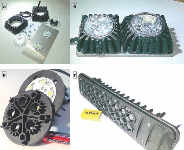 Образцы светильников с фронтальным охлаждением, изготовленные из теплорассеивающего пластика «Теплосток Т6-Э5-7»