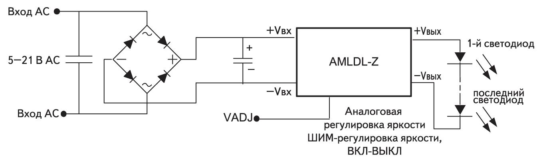 Подключение драйверов при питании от переменного тока напряжением 5–21 В АС