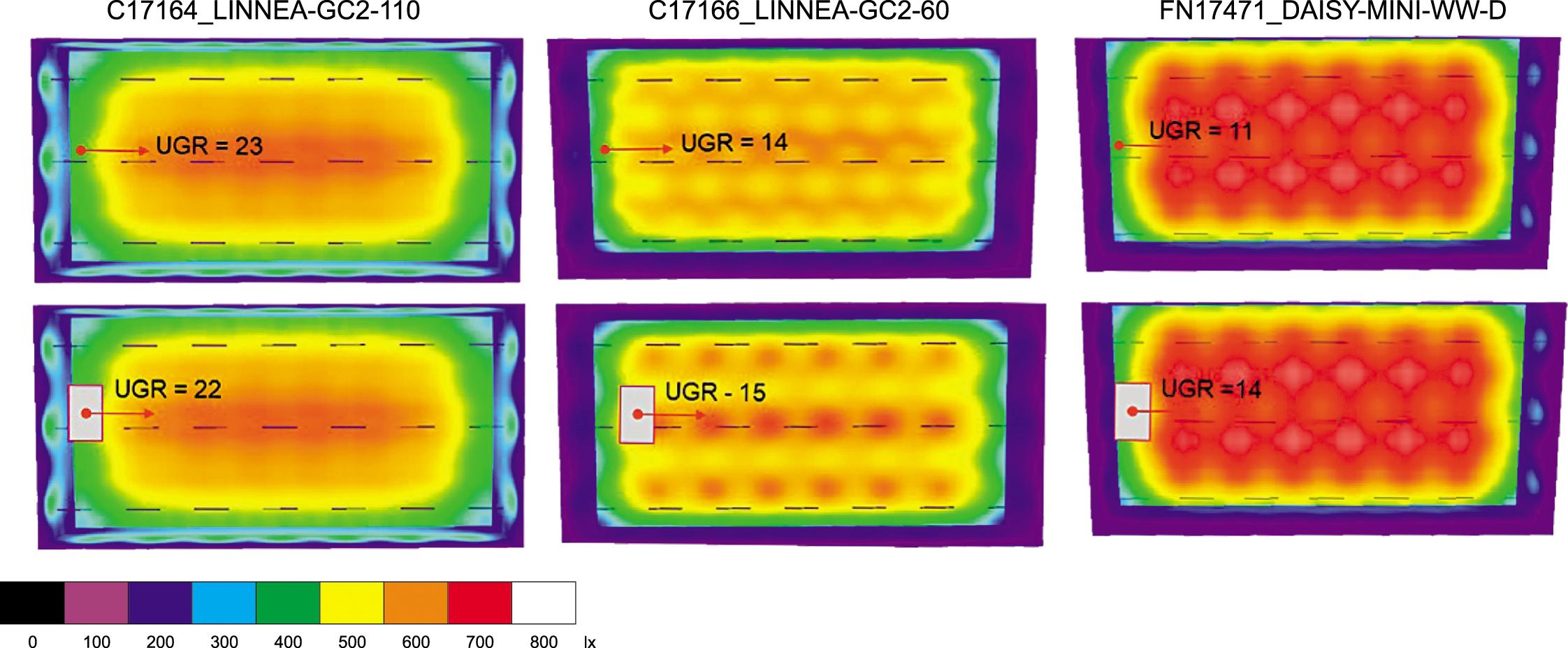 Распределение освещенности по помещению и значения UGR на высоте 1,2 м в торце помещения. Вверху приведены значения, полученные на базе точечного метода, внизу — на базе сеточного метода