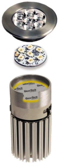 Теплораспределитель Spreadershield под светодиодным генератором света в составе потолочного светильника EyeLED