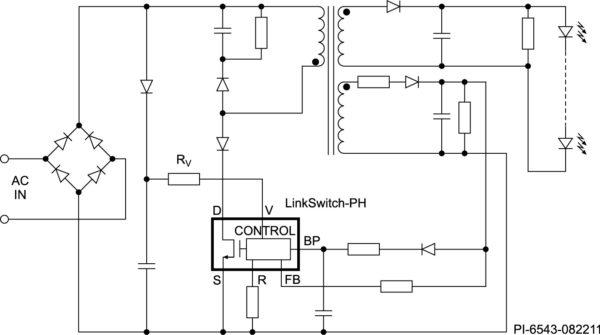 Типовая схема включения драйвера светодиодов LinkSwitch-PH