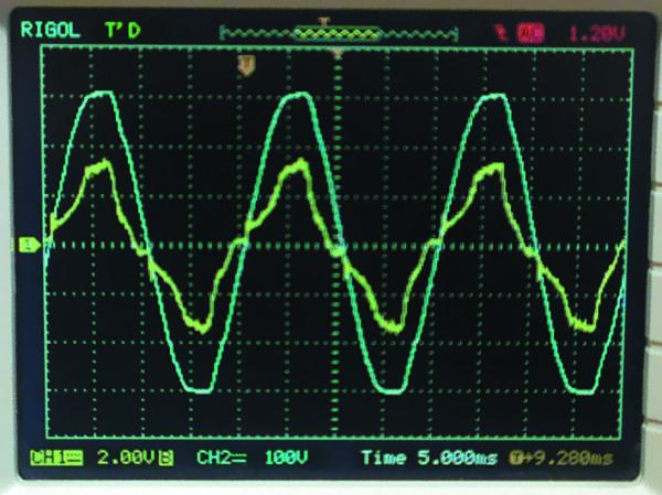 Осциллограммы входного тока (канал 1) и напряжения (канал 2)