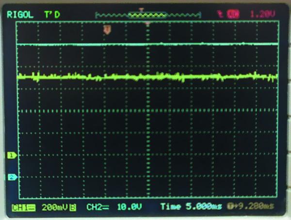 Осциллограммы выходного тока (канал 1) и напряжения (канал 2)