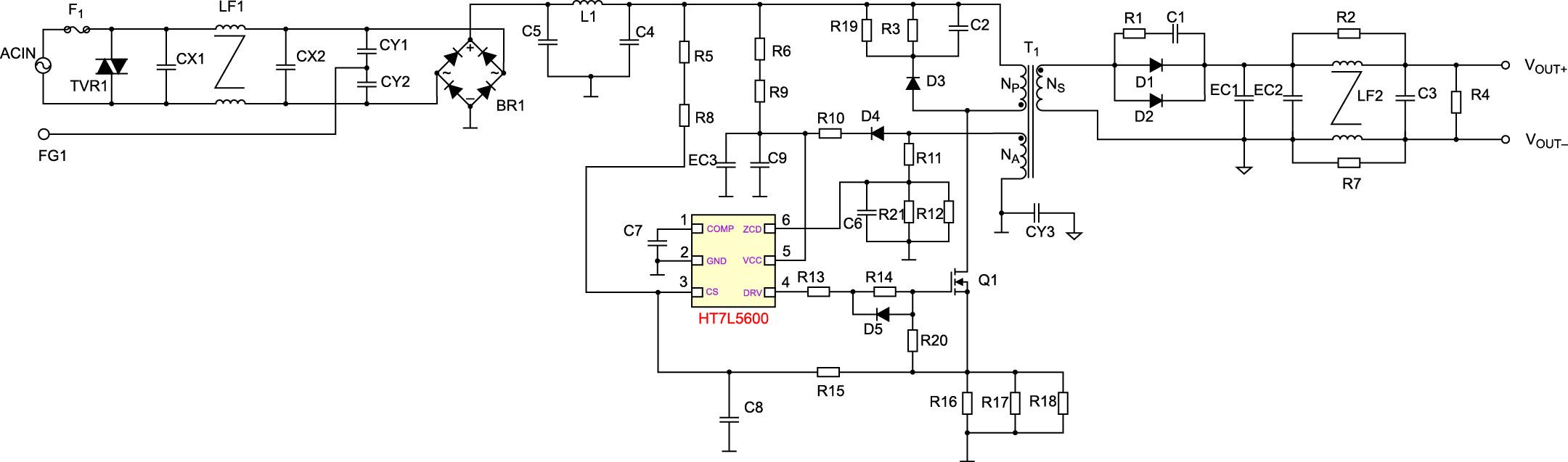 Принципиальная схема драйвера, используемого всветодиодной трубке LED-TUBET8