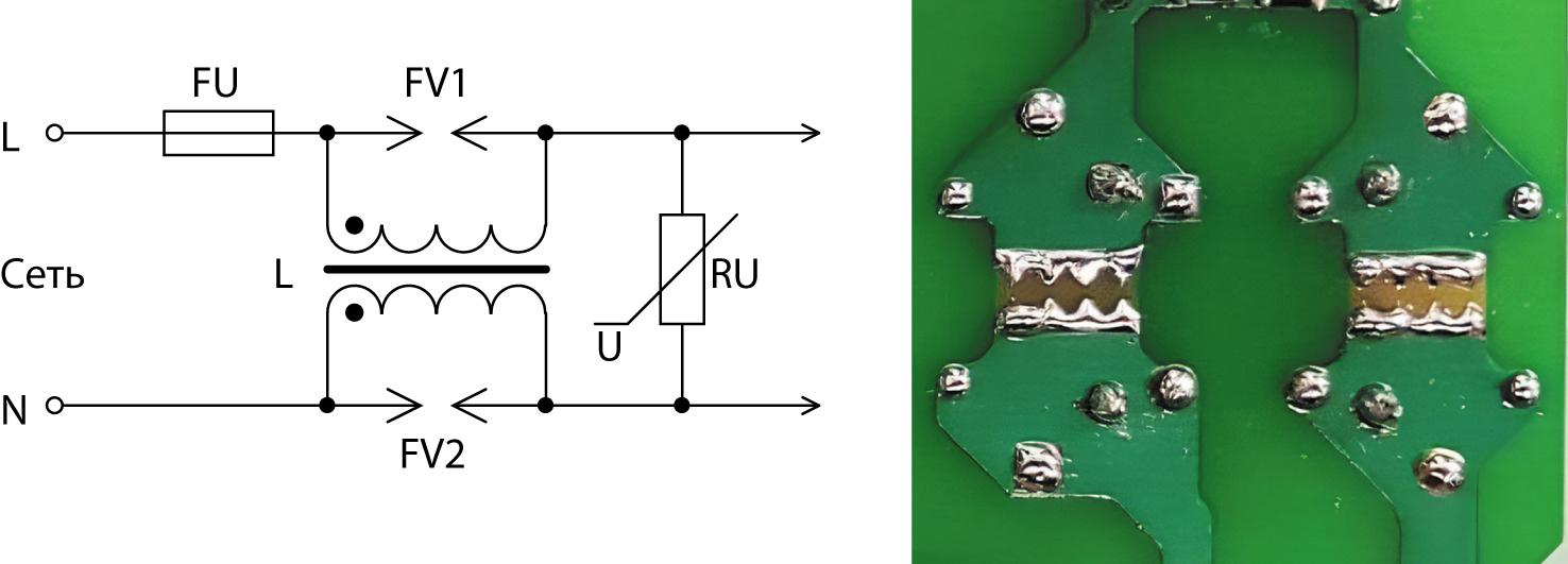 Защита обмоток дросселей входного ЭМП-фильтра