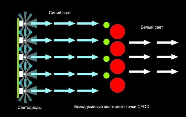 Синие светодиоды возбуждают красные изеленые бескадмиевые квантовые точки, врезультате чего получается белый свет высокого качества
