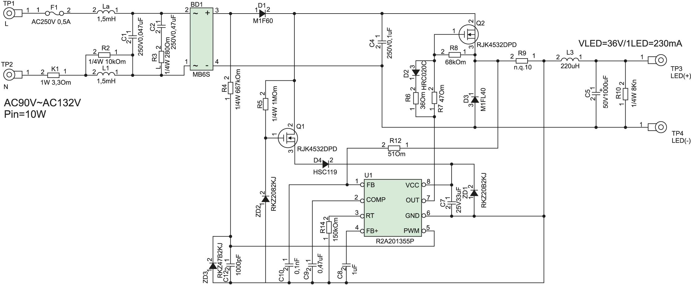Схема электрическая принципиальная R2A20135EVB-ND1