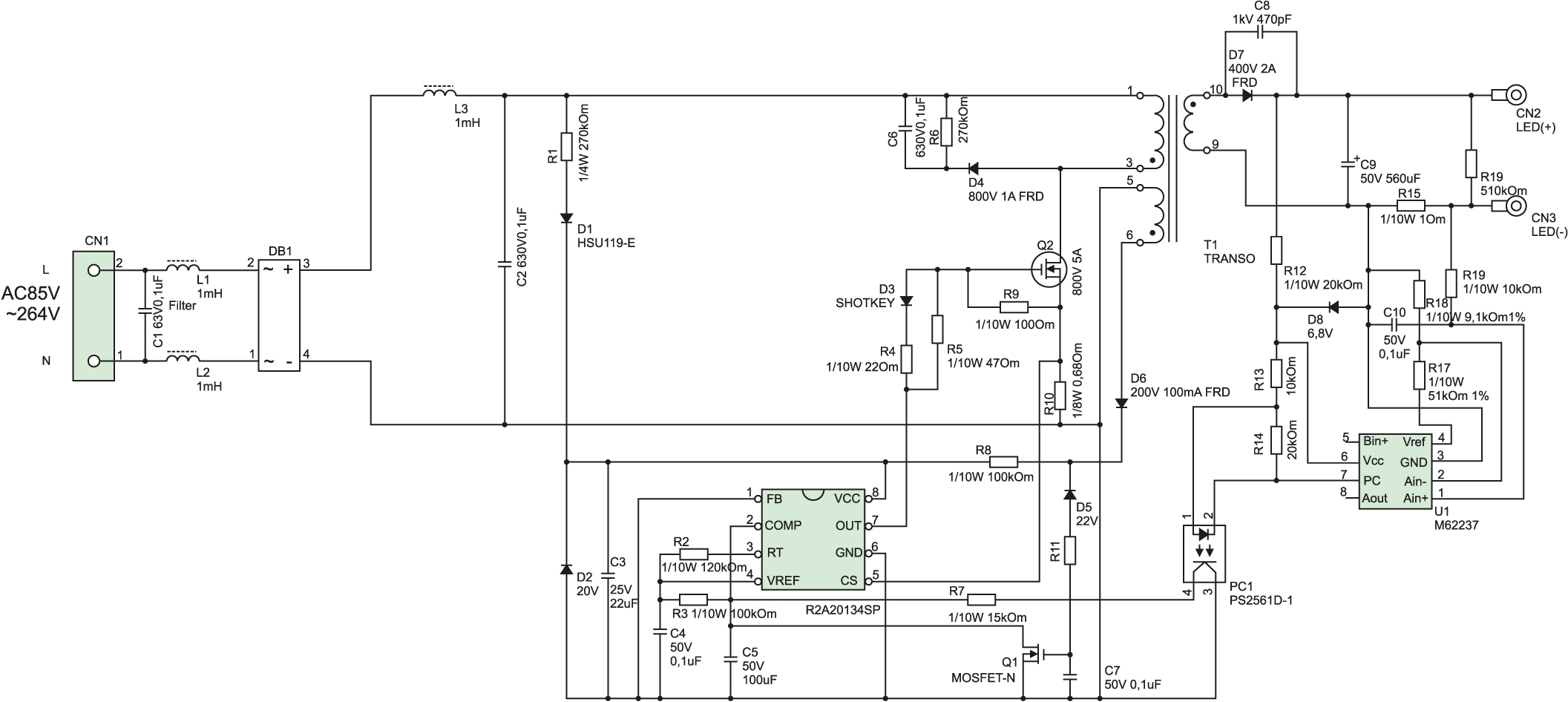 Схема электрическая принципиальная R2A20134EVB-INW
