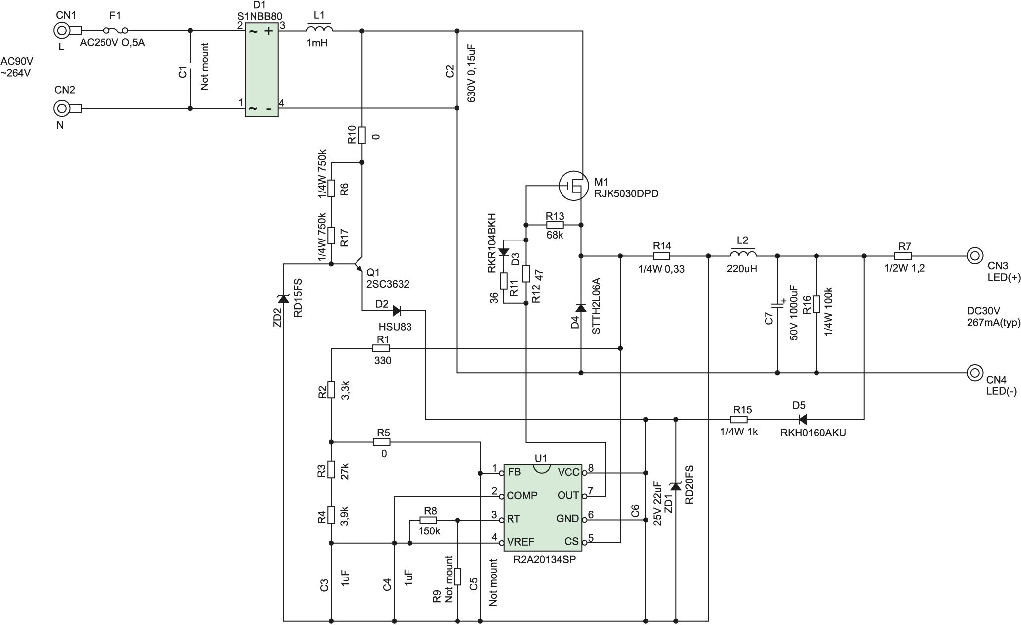 Схема электрическая принципиальная R2A20134EVB-NN1W