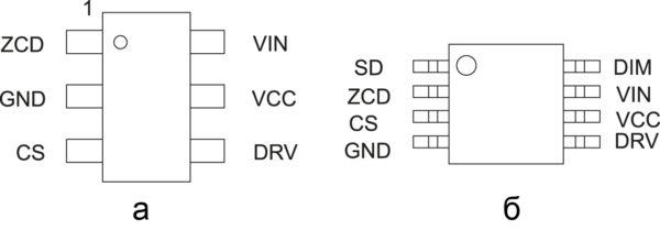 Расположение и обозначение выводов на корпусах: TSOP6, Micro8
