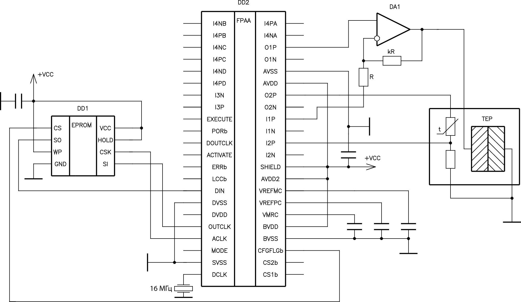 Схема стенда термостабилизации с ПИД-регулятором