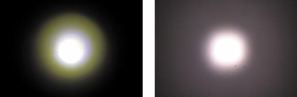 Сравнение неравномерности и однородности цвета (с правой стороны форма светового пучка 17-Вт модуля AR111)