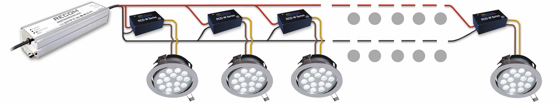 Двухступенчатая конструкция с источником питания AC/DC (слева), которая обеспечивает подачу питания для системы освещения 24 или 48 В DC и для светодиодных драйверов постоянного тока, установленных в индивидуальные лампы и питающих их