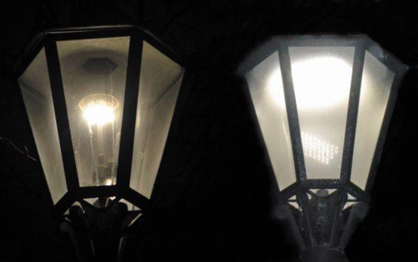 Газокалильный (слева) и светодиодный фонари
