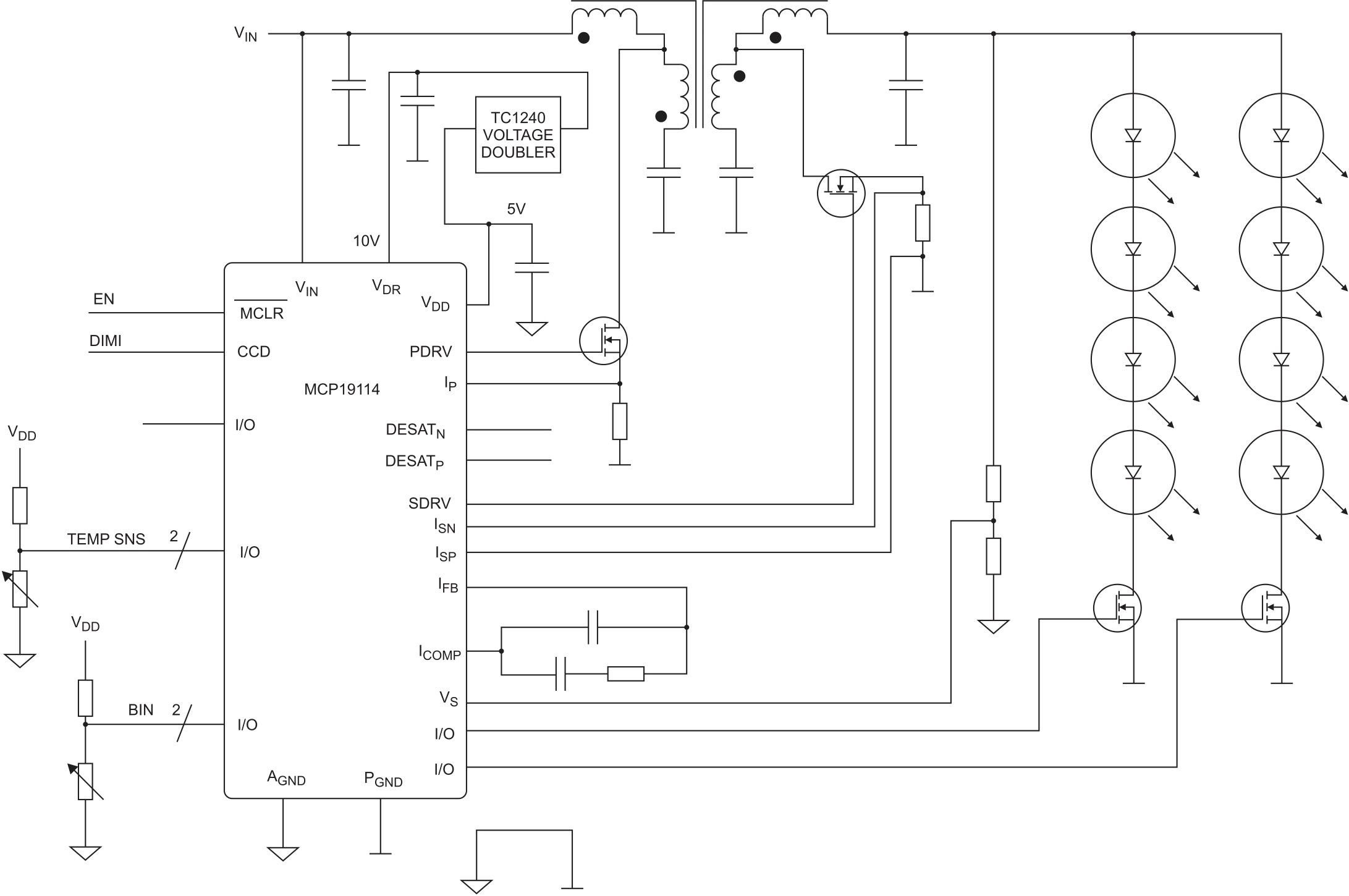 Упрощенная схема Чука с синхронным положительным выходом на базе контроллера МСР19114