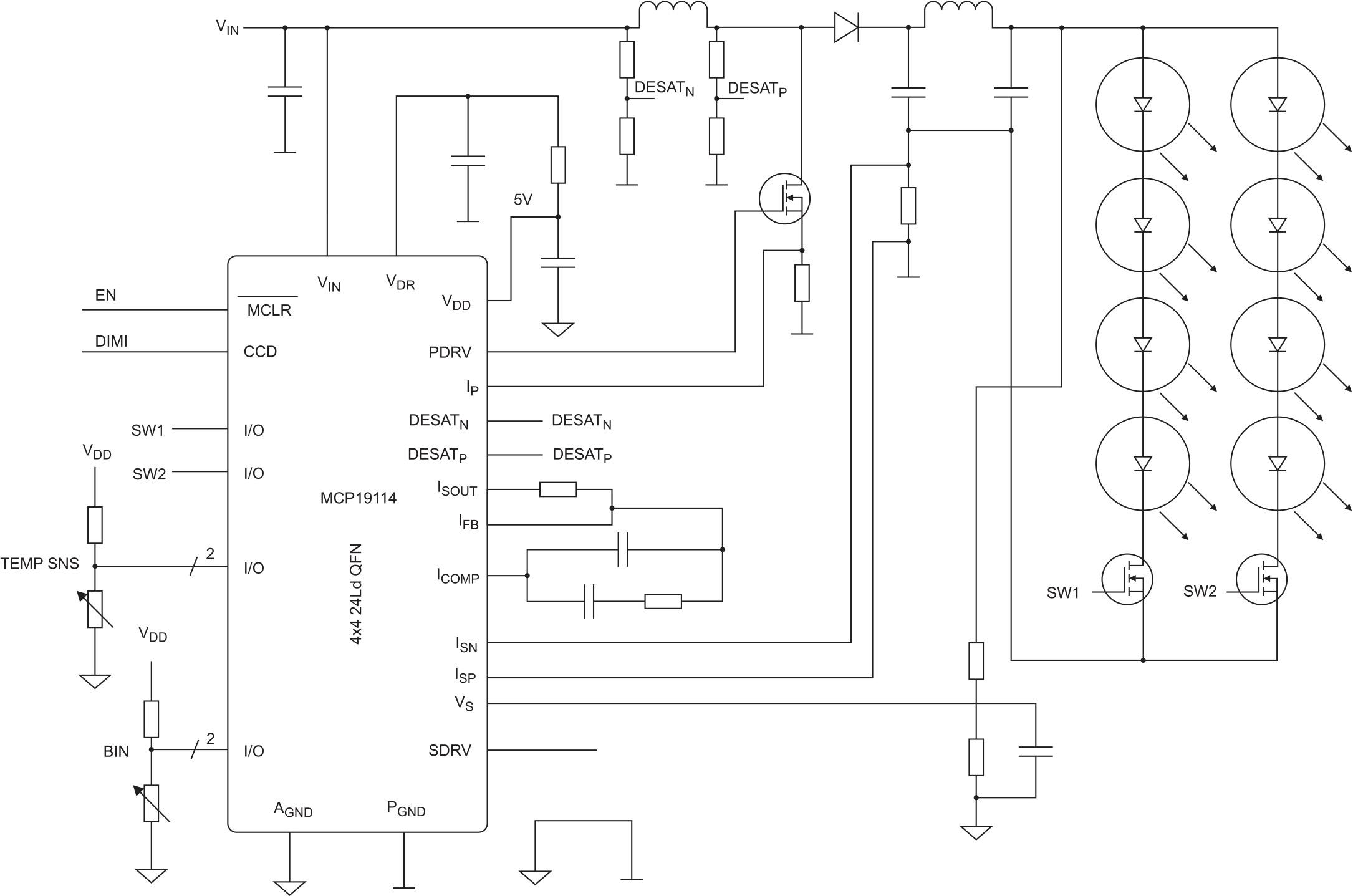 Упрощенная схема повышающего квазирезонансного преобразователя на базе контроллера МСР19114