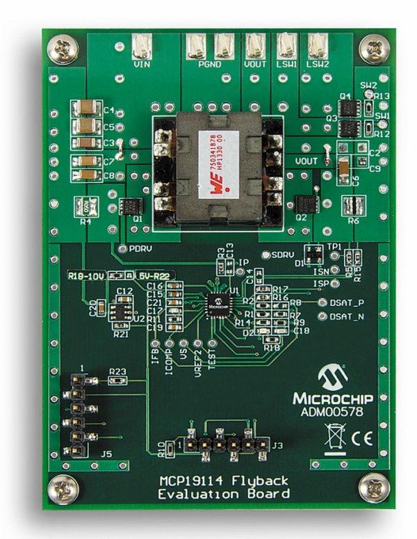Вид со стороны печати оценочной платы MCP19114 Flyback Standalone Evaluation Board (ADM00578)