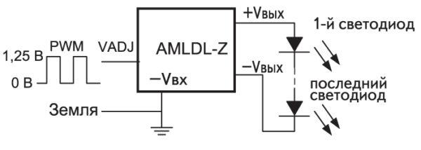 Схема регулировки яркости светодиодов с помощью ШИМ-сигнала