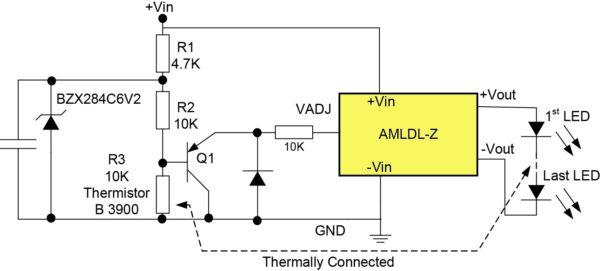Схема термокомпенсации светодиодного светильника для драйверов серии AMLDL-Z