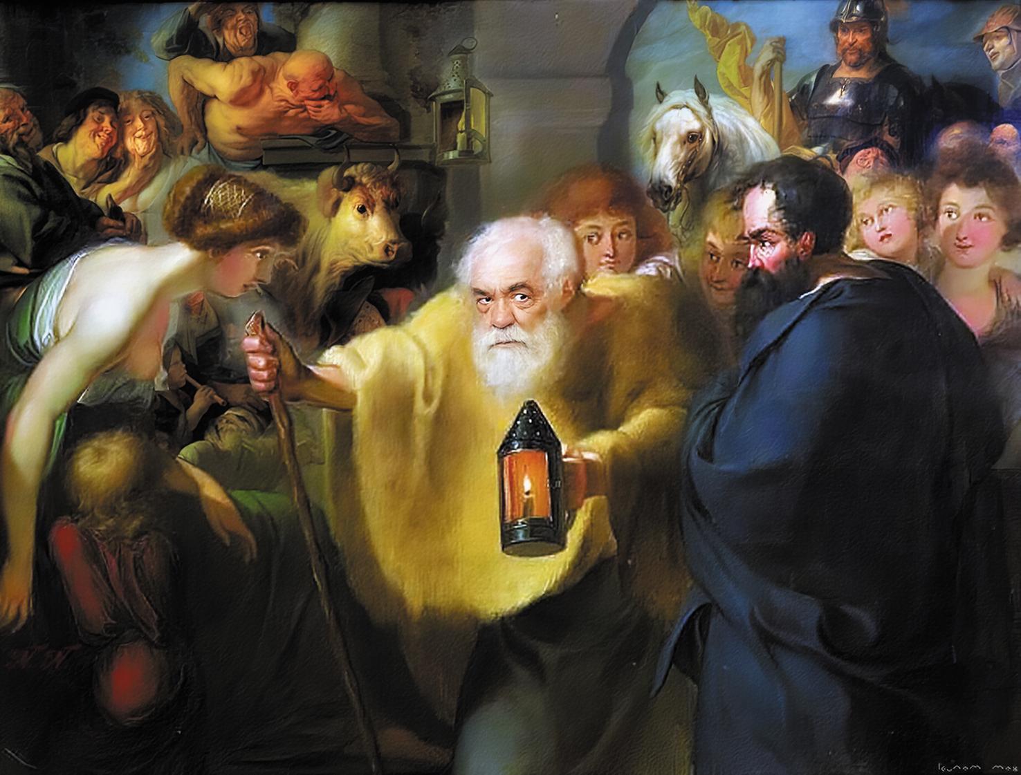 Диоген с лампой в поисках людей. Иоганн Генрих Вильгельм Тишбейн. Около 1780 года
