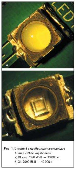 Рис. 1. Внешний вид образцов светодиодов XLamp 7090 с наработкой: а) XLamp 7090 WHT — 30 000 ч, б) XL 7090 BLU — 40 000 ч