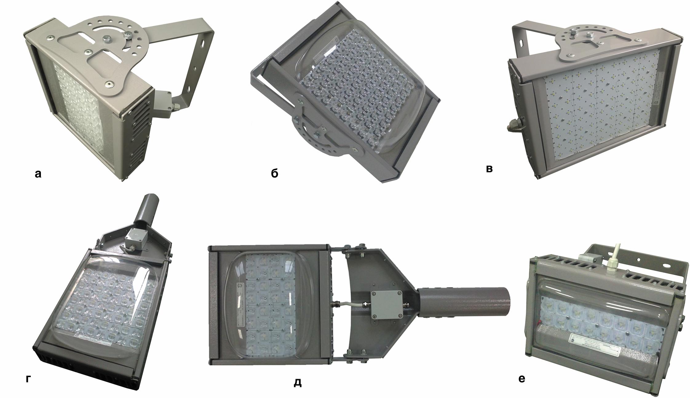 Внешний вид светильников фирмы «ЭКОЛАЙТ»: светильник с глубокой КСС; прожектор с концентрированной КСС; светильник с косинусной КСС; светильники с широкой КСС; кососвет