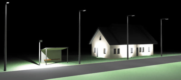 Визуализация сцены наружного освещения с применением светильников фирмы «ЭКОЛАЙТ»