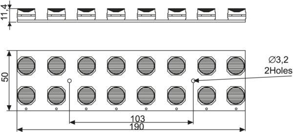 Чертеж светодиодного модуля Inda Flood (форм-фактор 2×8)