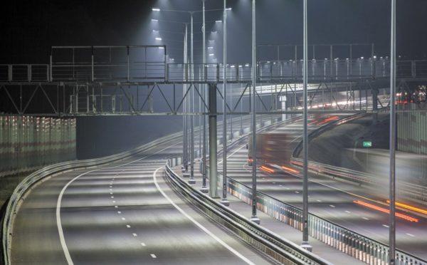Пример освещения дорожного полотна