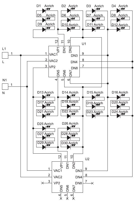 Структура модуля Acrich2 12Вт