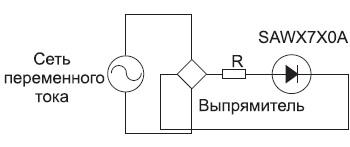 Схема включения модулей SAWX7X0A