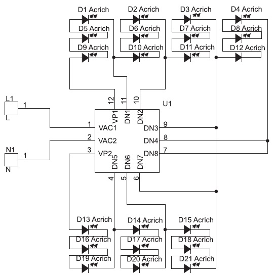 Структура модуляAcrich28Вт