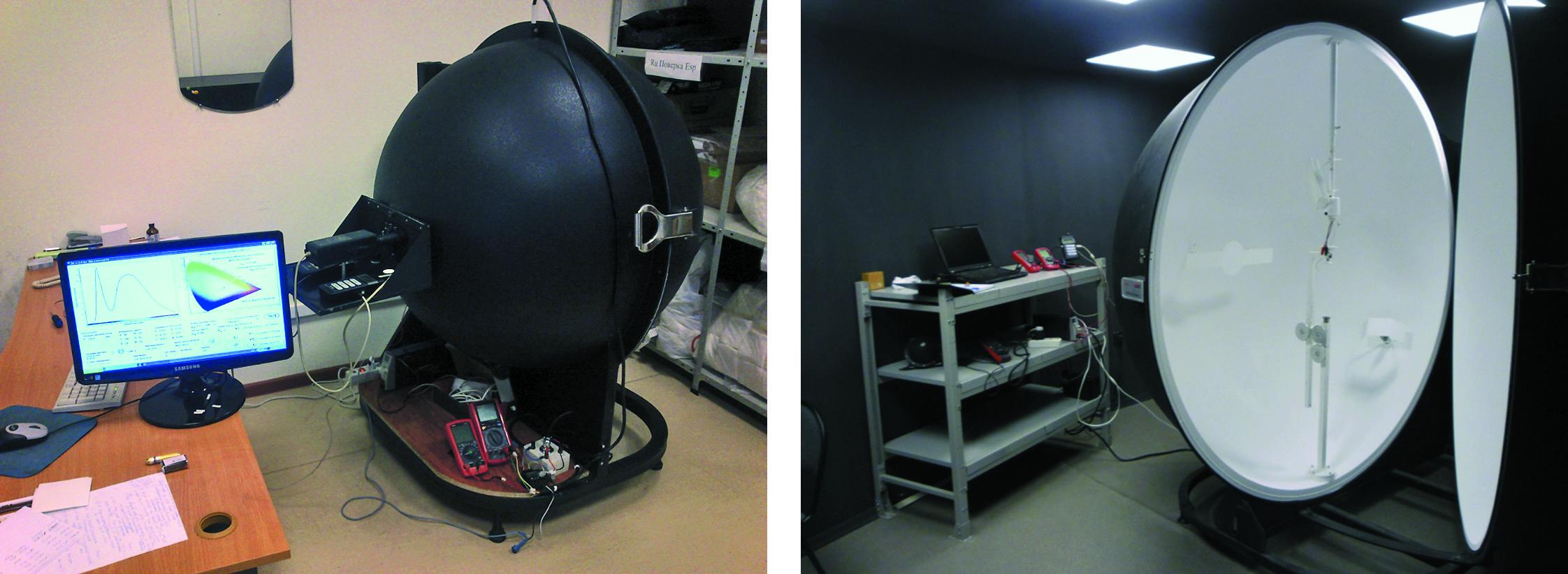 Фотометрические комплексы на основе интегрирующей сферы, изготовленные в ООО «НТП «ТКА», диаметрами 1 и 2 м
