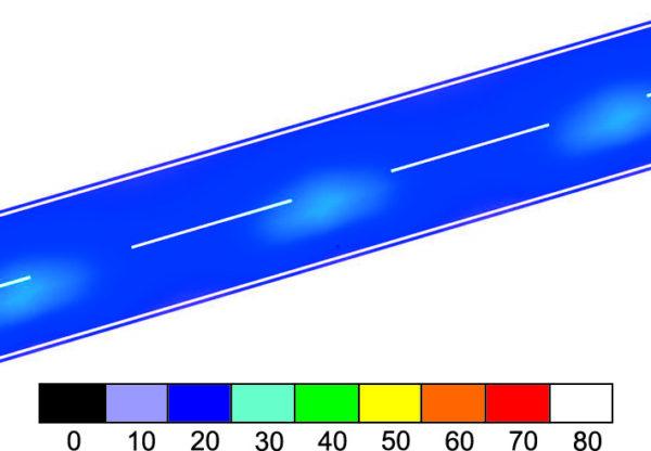 Освещенность участка дороги в условных цветах, создаваемая матрицей CXA25 с линзой STELLA-A