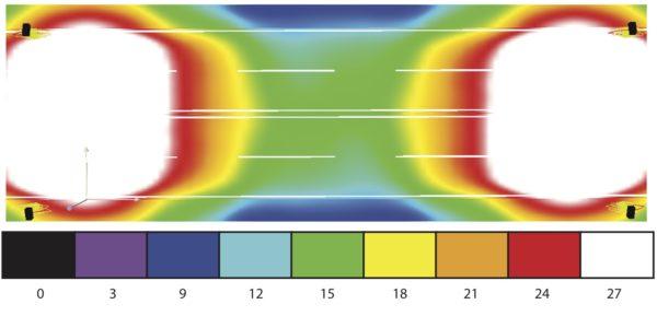 Распределение освещенности в псевдоцветах Dialux при использовании С14128_TATIANA-1X4-B