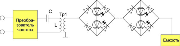 Схема подключения светодиодных светильников к резонансной системе передачи электроэнергии