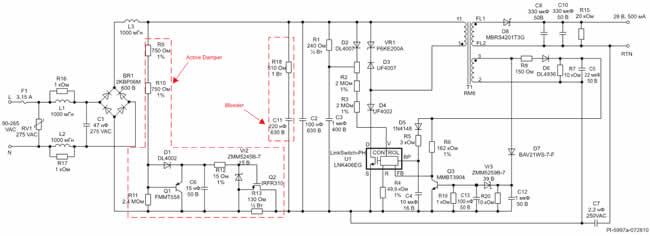 Схема изолированного источника питания 14 Вт для светодиодного светильника, совместимого с существующими симисторными диммерами, с высоким коэффициентом мощности и универсальным диапазоном входного напряжения