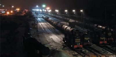 Освещение сортировочной станции железной дороги светодиодными светильниками
