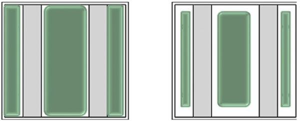 Полное покрытие припоем (слева), неполное покрытие припоем (справа)
