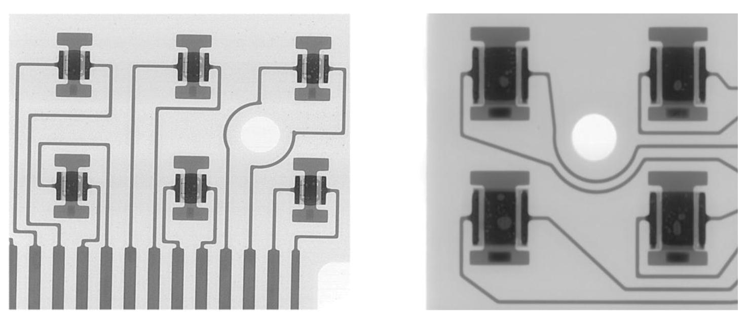 Рентгеновские изображения корпусов светодиодов XP-G на ПП (слева) и XM-L HVW (справа) с <30% пустот в припое