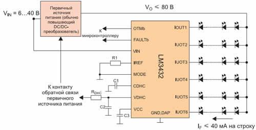 Одна ИС LM3432 способна питать 120-150 светодиодов