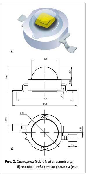 Рис. 2. Светодиод SvL-01: а) внешний вид; б) чертеж и габаритные размеры (мм)