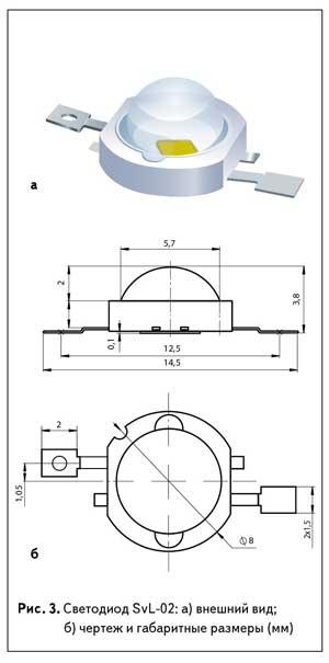 Рис. 3. Светодиод SvL-02: а) внешний вид; б) чертеж и габаритные размеры (мм)