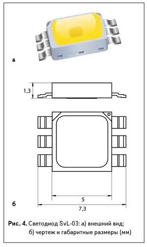 Рис. 4. Светодиод SvL-03: а) внешний вид; б) чертеж и габаритные размеры (мм)