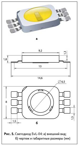 Рис. 5. Светодиод SvL-04: а) внешний вид; б) чертеж и габаритные размеры (мм)