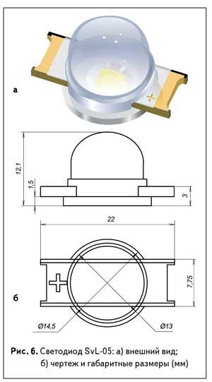 Рис. 6. Светодиод SvL-05: а) внешний вид; б) чертеж и габаритные размеры (мм)