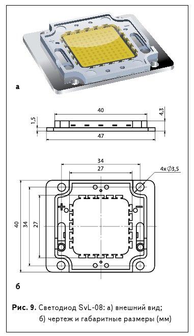 Рис. 9. Светодиод SvL-08: а) внешний вид; б) чертеж и габаритные размеры (мм)