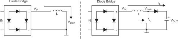 Путь протекания тока дросселя IL во время двух фаз работы повышающего импульсного преобразователя