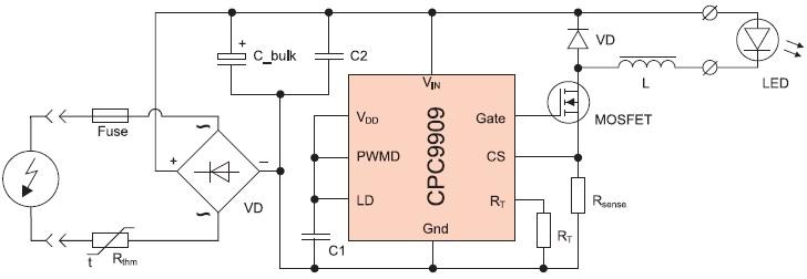 Cветодиодный драйвер на базе CPC9909