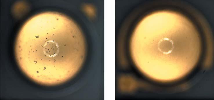 Плазменное глазирование силиконовой линзы(до и после обработки)